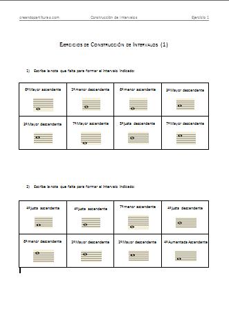 Ejercicios de construcción de intervalos en PDF - Vista previa