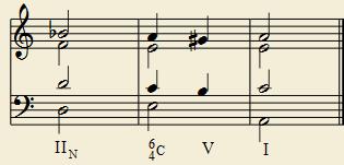 Ejemplo de sexta napolitana en La menor