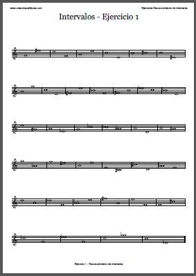 Ejercicios de intervalos musicales en PDF - Vista previa